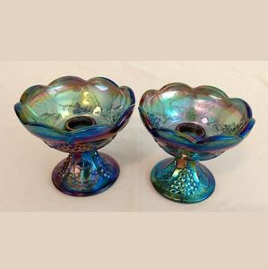 Carnival Glass Blue Harvest Candlestick holders
